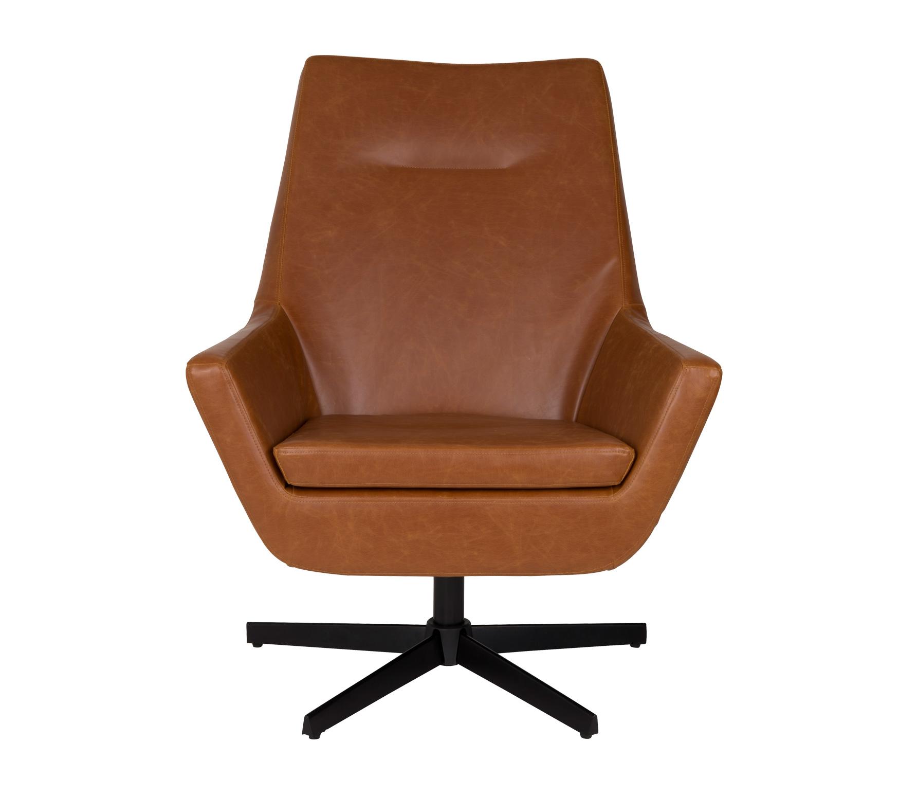 Dutchbone Don Cognac fauteuil lounge draai Cognac AllesWonen