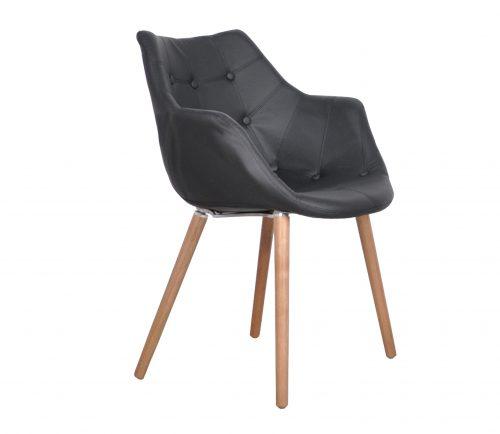 stoel-eleven-zwart-lederlook-zwart